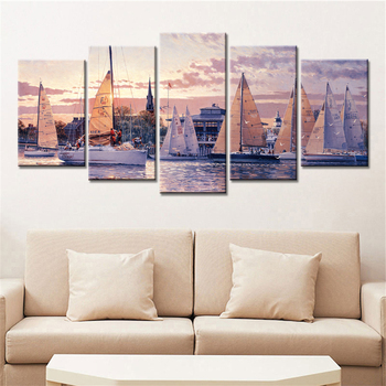5 Pieces Sailings Landscape Wall Art Pictures Painting on Canvas for Living Room Cuadros Decoration Unframed Drop Shipping