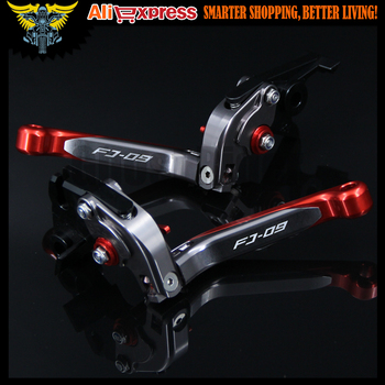 For Yamaha FJ-09/MT-09 Tracer 2016 Laser Logo(FJ-09) Red+Titanium CNC Folding Extendable Motorcycle Brake Clutch Levers
