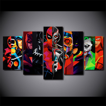 Modern HD printed 5 piece canvas art Geometric Batman Painting Superhero wall pictures for living room sofa background